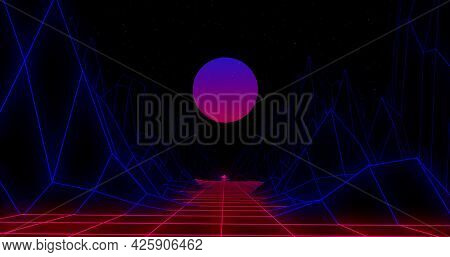 Image of pink to purple glowing globe and 3d map lines moving on image game screen black background. Colour light movement concept digitally generated image.