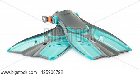 Pair Of Turquoise Flippers On White Background