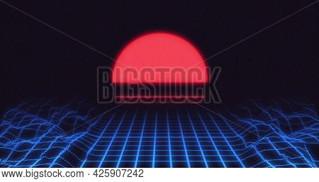 Image of red glowing globe and 3d map lines moving on image game screen black background. Colour light movement concept digitally generated image.