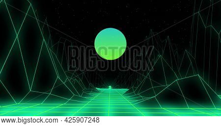 Image of green to blue glowing globe and 3d map lines moving on image game screen black background. Colour light movement concept digitally generated image.
