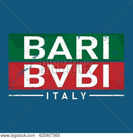 Bari In Italy Is Beautiful City To Visit On Holiday, Vector Cartoon Illustration