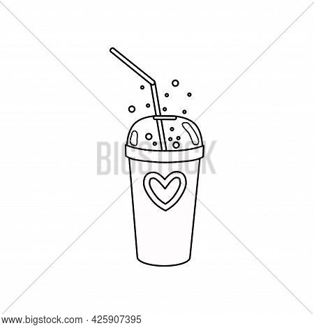 Soda In A Glass With An Outline Tube. The Icon. Vector Illustration.