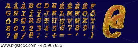 Epoxy Letters Plastic Alphabet Yellow Text Uppercase With Foreign Language Accents