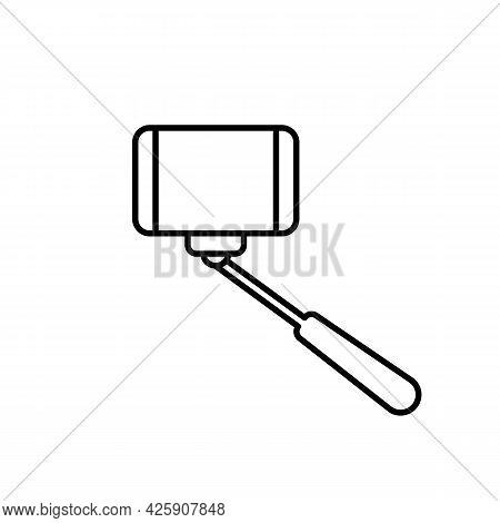 Selfie Stick Or Monopod For Selfie Black Line Icon. Photo Concept. Trendy Flat Isolated Outline Symb