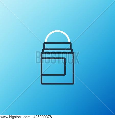 Line Antiperspirant Deodorant Roll Icon Isolated On Blue Background. Cosmetic For Body Hygiene. Colo