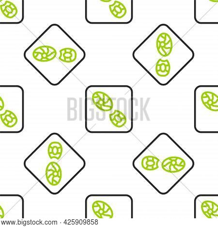 Line Human Footprints Shoes Icon Isolated Seamless Pattern On White Background. Shoes Sole. Vector