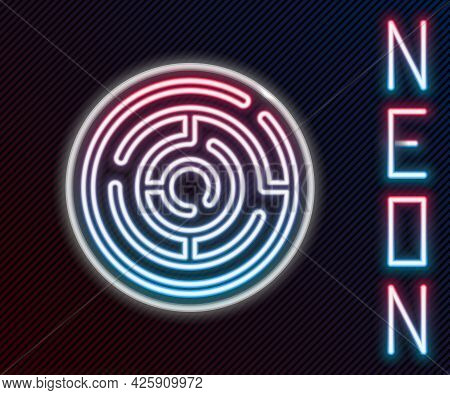 Glowing Neon Line Minotaur Maze Or Labyrinth Icon Isolated On Black Background. Ancient Greek Mythol