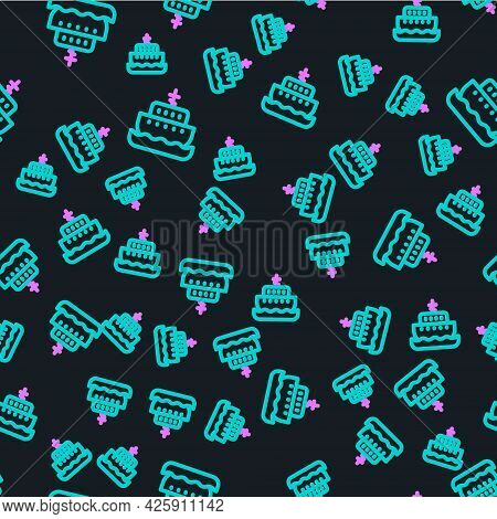 Line Ark Of Noah Icon Isolated Seamless Pattern On Black Background. Wood Big High Cargo. Vector
