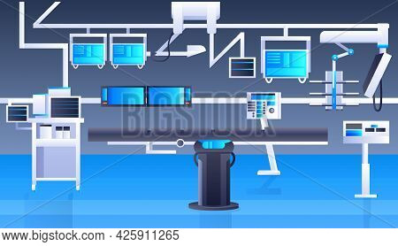 Hospital Operating Table And Medical Devices Modern Clinic Surgery Room Interior Intensive Therapy S