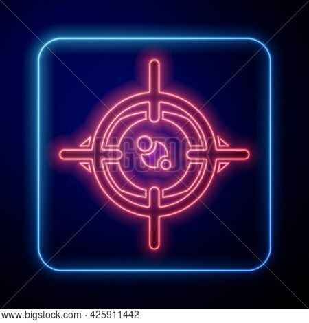 Glowing Neon Eye Scan Icon Isolated On Blue Background. Scanning Eye. Security Check Symbol. Cyber E