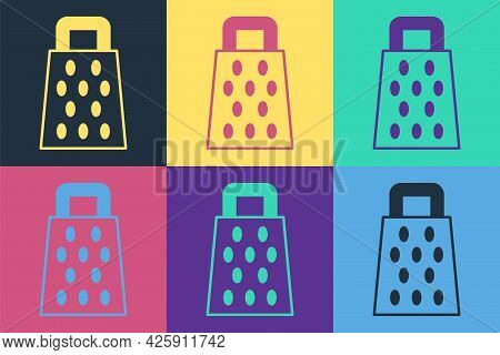 Pop Art Grater Icon Isolated On Color Background. Kitchen Symbol. Cooking Utensil. Cutlery Sign. Vec