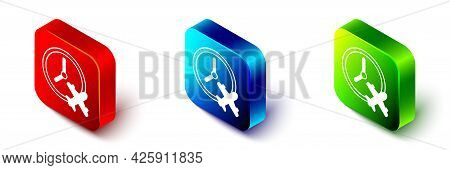 Isometric Clock With Airplane Icon Isolated On White Background. Designation Of Time Before Departur