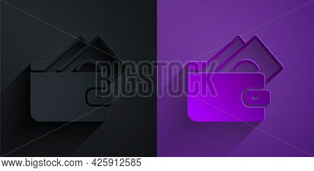 Paper Cut Wallet With Stacks Paper Money Cash Icon Isolated On Black On Purple Background. Purse Ico