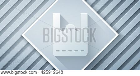 Paper Cut Paper Shopping Bag Icon Isolated On Grey Background. Package Sign. Paper Art Style. Vector