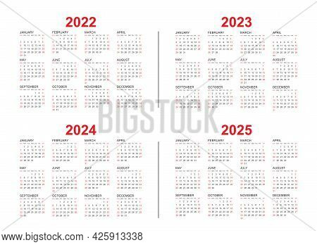 Calendar From 2022, 2023, 2024, 2025 Years Template. Calendar Mockup Design In Black And White Color