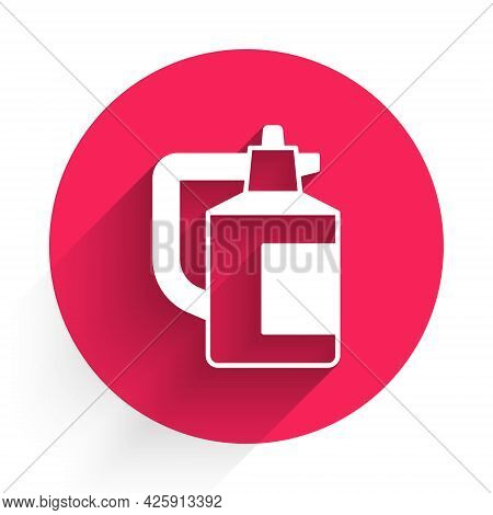 White Garden Sprayer For Water, Fertilizer, Chemicals Icon Isolated With Long Shadow. Red Circle But