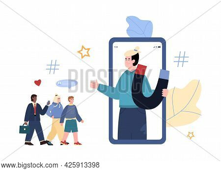 Young Influencer Man On Phone Screen Holding Magnet For Attraction Customers.