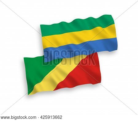 National Fabric Wave Flags Of Republic Of The Congo And Gabon Isolated On White Background. 1 To 2 P