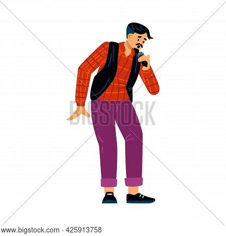 Karaoke Or Concert Singer Male Character, Flat Vector Illustration Isolated.