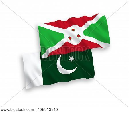 National Fabric Wave Flags Of Burundi And Pakistan Isolated On White Background. 1 To 2 Proportion.