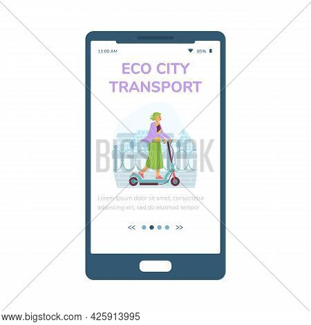 Mobile Phone App With Girl Ride On Electric Kick Scooter At Urban Street.