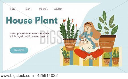Urban Jungle Website With Woman Petting Her Cat In Room With Houseplants, Flat Vector Illustration.