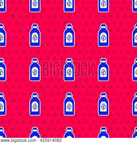 Blue Essential Oil Bottle Icon Isolated Blue Background. Organic Aromatherapy Essence. Skin Care Ser