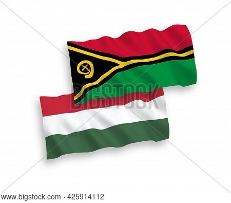 National Fabric Wave Flags Of Republic Of Vanuatu And Hungary Isolated On White Background. 1 To 2 P