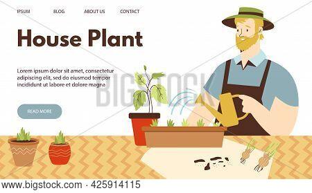 Urban Jungle Website Banner Concept With Man Watering Houseplants, Flat Vector Illustration. Landing