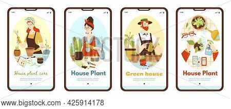 Onboarding Pages Kit On Topic Of Urban Jungle And Green House. Mobile Screens With People Planting H