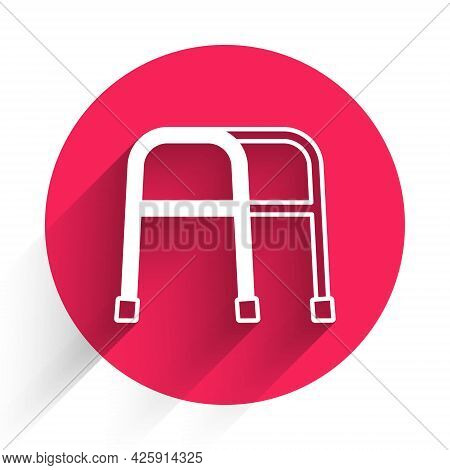 White Walker For Disabled Person Icon Isolated With Long Shadow. Red Circle Button. Vector