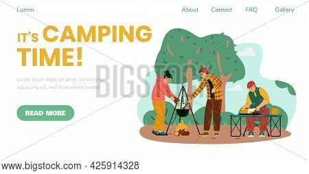 Camping Time Banner With People Traveling As Campers, Flat Vector Illustration.