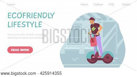 Web Banner With Call To Use Of Eco Friendly Alternative Urban Electric Transport