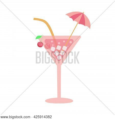 Cocktail Icon Or Sign. Martini Glass With Cherry, Cocktail Umbrella And Drinking Straw. Isolated Fla