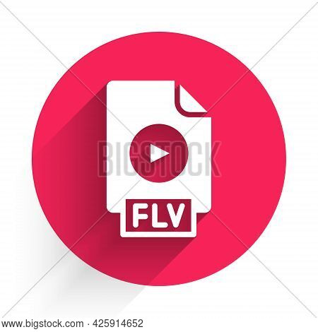 White Flv File Document Video File Format. Download Flv Button Icon Isolated With Long Shadow. Flv F