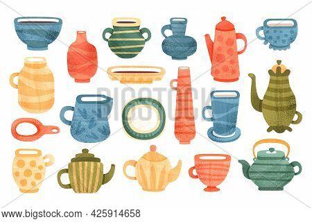 Set Of Ceramic Kitchenware, Clay Utensils, Mug, Vessels, Teapot, Jug, Plate, Vase Cartoon Vector Ill