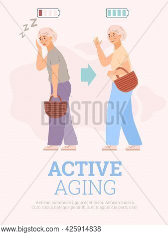 Active Aging Concept Of Banner With Old Woman, Flat Vector Illustration.
