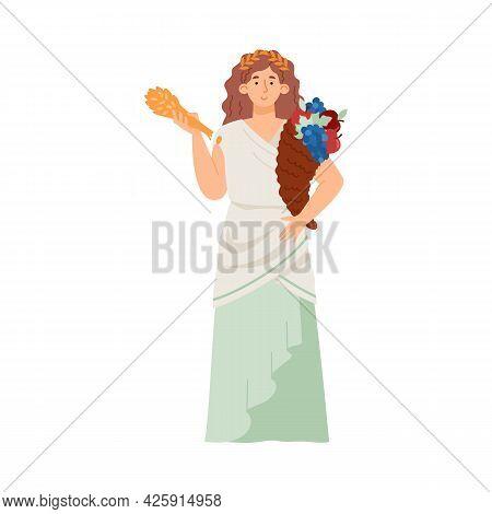 Greek Goddess Of Fertility And Harvest Demeter Flat Vector Illustration Isolated.