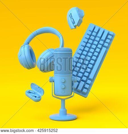 Flying Monochrome Blue Gamer Gears Like Mouse, Keyboard, Joystick, Headset, Vr Headset, Microphone O