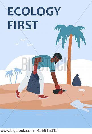 Young Man Clean Up Trash At Ocean Beach Or Sea Coast Into Plastic Rubbish Sack