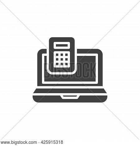 Online Calculator Vector Icon. Filled Flat Sign For Mobile Concept And Web Design. Laptop And Calcul
