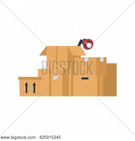 Set Of Open And Closed Cardboard Boxes For Moving Relocation Of Office Or House.