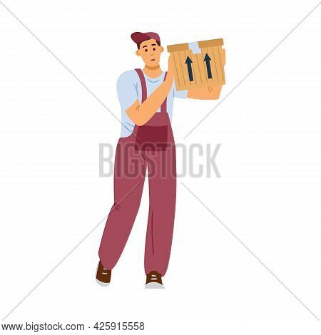 Worker Of Delivery Company Service Carry Cardboard Box With Things.