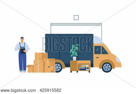Shipping Service Loaders Or Porters Loading Furniture, Flat Vector Isolated.