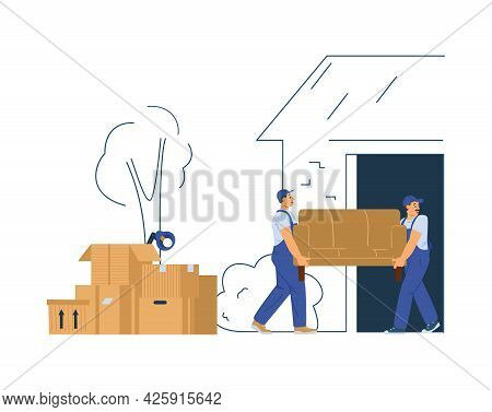Moving Or Shipping Service Loaders At Work, Flat Vector Illustration Isolated.