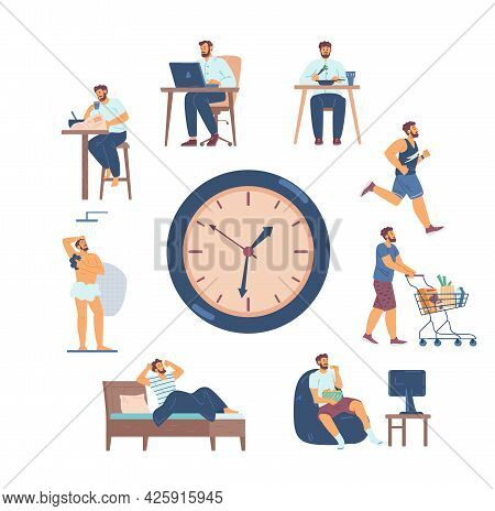 Scenes Of Man Daily Routine Chores Around Clock, Flat Vector Illustration Isolated.