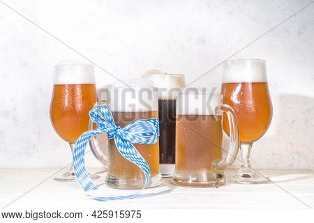 Oktoberfest Beer With Pretzel, Wheat And Hops