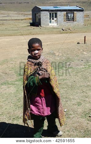 Unidentified boy at Sani Pass, Lesotho at an altitude of 2 874m.