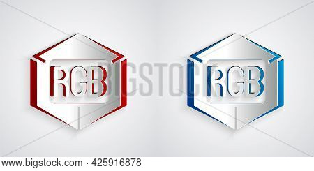 Paper Cut Rgb And Cmyk Color Mixing Icon Isolated On Grey Background. Paper Art Style. Vector
