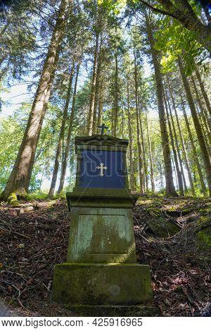 Religious Christ Cross in Forest to Pray in Hochsauerlandkreis Germany